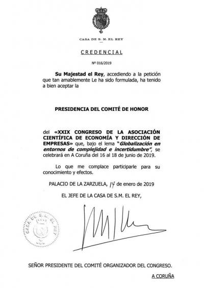 SU MAJESTAD EL REY DE ESPAÑA PRESIDENTE DE HONOR DEL XXIX CONGRESO ACEDE