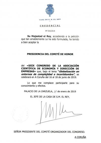 His Majesty, the King of Spain Honorary President of the XXIX Conference ACEDE